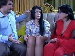 Virgin girl getting her first sexual experience with a lesbo mom in glasses
