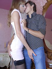 Tall and leggy babe opens up her little puckered hole for a new boyfriend