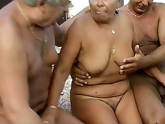 Time worn out granny is getting finger fucked in filthy MMF threesome