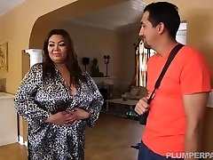 Busty Fat Asian Model Gets Massage from Mexican