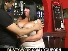 Good-sized tits barmaid takes it from behind