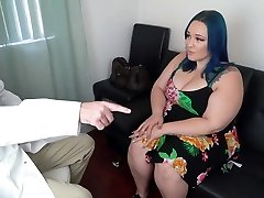 Beautiful Blue Haired Plus-size Gets an Anal Checkup