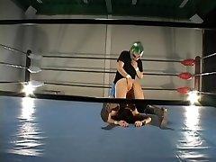 Buxom hairy Jap boned in a wrestling ring
