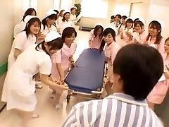 Asian nurses in a scorching gang-fuck