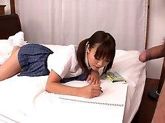 Lusty Asian college whore Momoka Rin sucks sweet cock of her camera fellow