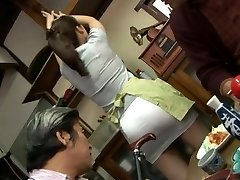 Mature fucking threesome with Mirei Kayama in a mini micro-skirt