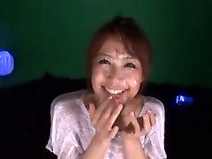 Cute Japanese girl Maika get covered in sperm by 2 dudes