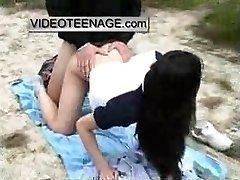 asian teen boned outdoor at beach