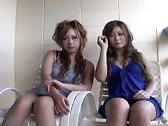 Two whorey Japanese chicks Yurina Shiho and Hibiki Mahiru gives a short interview before fucking one another