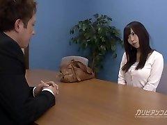 Job interview leads deepthroating a beefstick