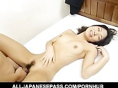 Miku flashes off her pretty hairy muff before spreading her gams for a hard
