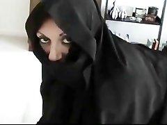 Iranian Muslim Burqa Wife gives Foot Wank on Yankee Mans Humungous American Penis