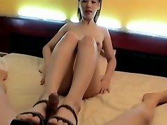 Korean Girl foot insert. Suck & Tear Up, Face cum