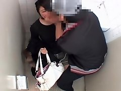 Lengthy vagina fucked hard by asian dick in public toilet