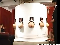 Asian arses sticking out of gloryholes