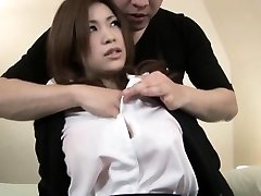 Beautiful Japanese babe gets a taste of a hard cock in her tight we