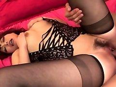 Lady in hot ebony lingerie has three way for creampie finish