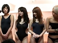 Chinese swimsuit babes in orgy