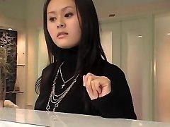 Delightful Japanese bimbo in stellar voyeur massage action