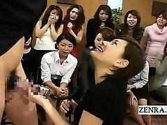 Subtitled CFNM Japan Milf TV stiffy pump demonstration