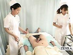 Subtitles CFNM two Japanese nurses hand-job with jizz shot