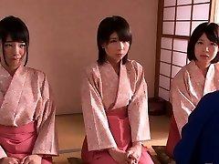 Small female dom Japanese kimono babes jump on dude
