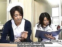 Subtitled CFNM Asian milf doctor and nurse hand job