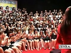 Subtitled CFNM Japanese ginormous hand-job blowjob event