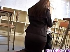 Mei Sawai Japanese big-titted in office suit gives hot blowjob at school