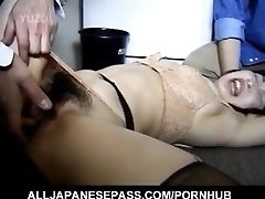 Japanese AV Model has hairy crack roughly screwed by two dudes