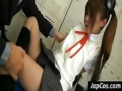 Young Chinese gal gets her arm pits licked and her feet worshiped