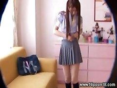 Asian student gets hot for lucky hidden cam