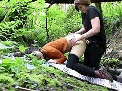 Lesbian Outdoor Rain woods Strap-On Fuck