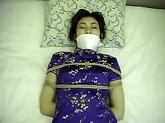 Chinese dress girl tied up and gagged