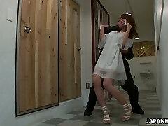 Buxom Asian hot lady Sayaka Fukuyama gets hairy fuckbox drilled by dudes