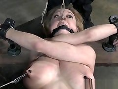 Bigtitted sub gagged and caned by her maledom