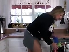 Stepson trying to intensity step mother in kitchen