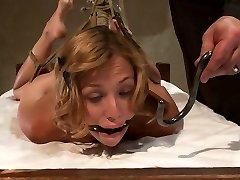 Helpless Ash-blonde In Hogtie Struggling Through Orgasm After Orgasm. - HogTied