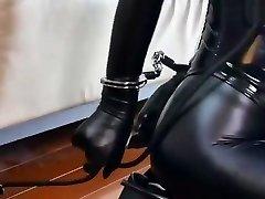 Bondage leather Subordinated girl