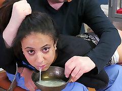 Nasty tiny slave girl gets ass beaten while slurping cum