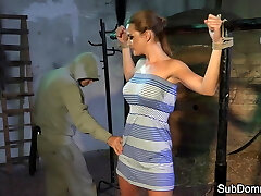 Dominated babe orgasms while strapped