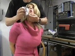 Busty ash-blonde chair tied and cleave gagged
