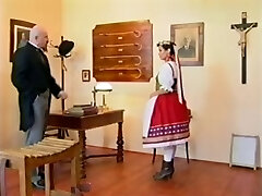 Abnormal headmaster caning his teen pupil