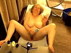 60+ GILF gets off in hotel apartment window