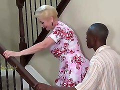 Blondie Grandma Invites Black Dad For Creampie.