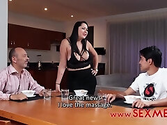 Kinky guy likes to fuck his step- mom and does it even in front of another man