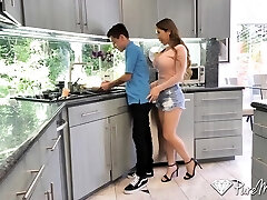 Lewd middle aged milf Bianca Burke seduces young man and enjoys his big hard spear