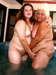 Lard ass ladies fool around in the hot tub