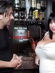 Lovely plumper working as barmaid got her giant boobs bouncing as she got fucked raw