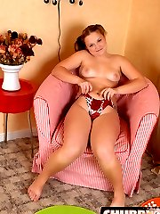 If you love chubby chicks you gotta see this cutie suck and ride her big purple dildo